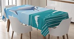 Whale Decor Tablecloth by Ambesonne, Ocean Sunny Landscape w