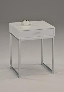 White / Chrome Finish Modern Accent Side End Table Nighstand