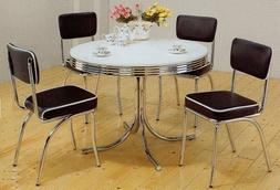 5pc White U0026 Chrome Retro Round Table U0026 Black Chairs Set