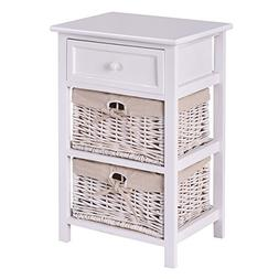 Giantex White Night Stand 3 Tiers 1 Drawer Bedside End Table