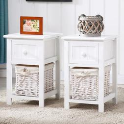 Set of 2 Nightstand End/Side Bedside Table with Wicker Stora