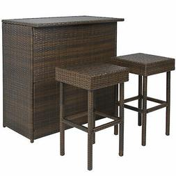 3PC Wicker Bar Set Patio Outdoor Backyard Table & 2 Stools R