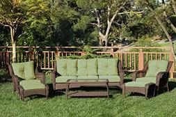 6pc Wicker Seating Set with Green Cushions