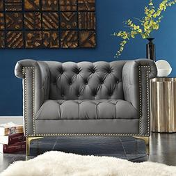 Iconic Home Winston Modern Tufted Gold Nail Head Trim Grey P