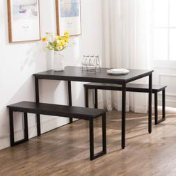 Wood 3 Piece Dining Table Sets 2 Bench Chair Rectangular Tab