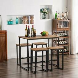 Wood 5 Pieces Dining Set Metal Table and 4 Chair Kitchen Din