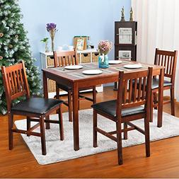 Harper&Bright Designs 5 Piece Wood Dining Table Set 4 Person