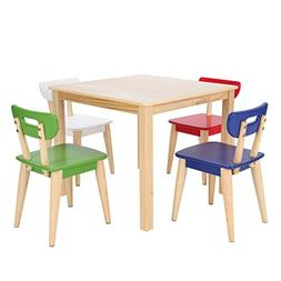 Max & Lily Natural Wood Kid and Toddler Square Table +  Mode