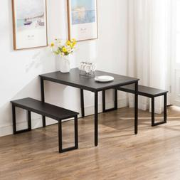Black Kitchen Dining Table and Chairs Set Breakfast Nook Fur
