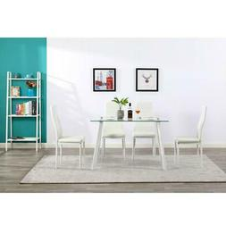 Wood Metal Kitchen 5 Piece Dining Table Set with 4 Chairs Br