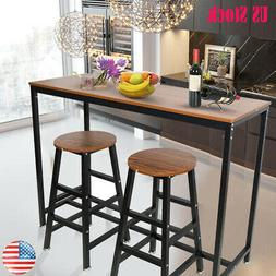 Wood Pub Bar Table Chair Counter Height Kitchen Dining Set H