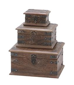 Deco 79 Wood Reclaimed Box, 11 by 8 by 5-Inch, Set of 3