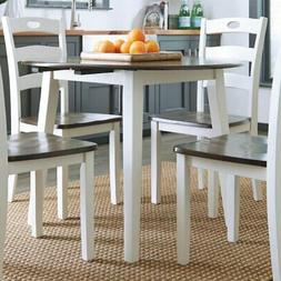 woodanville round drop leaf dining table white
