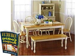 Fortune Bliss Wooden Dinette Table with 4 Chairs, one Countr