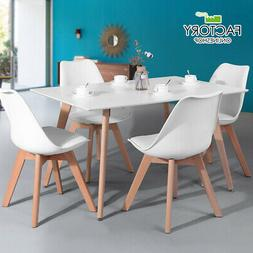 Wooden Oak White Dining Table Contemporary Kitchen Room Furn