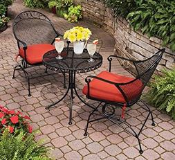 Outdoor Wrought Iron Bistro Set W / Free Red Cushions