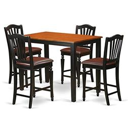 East West Furniture YACH5-BLK-LC 5 Piece Pub Table and 4 Cou